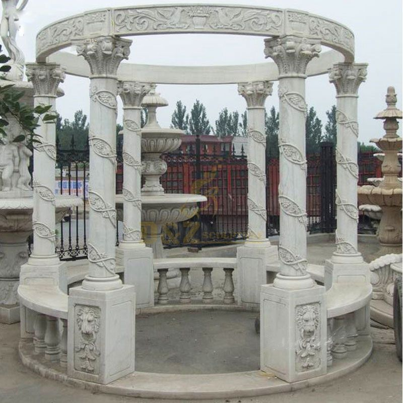 Outdoor Garden Decoration Marble Stone Carving Square Pavilions Gazebo