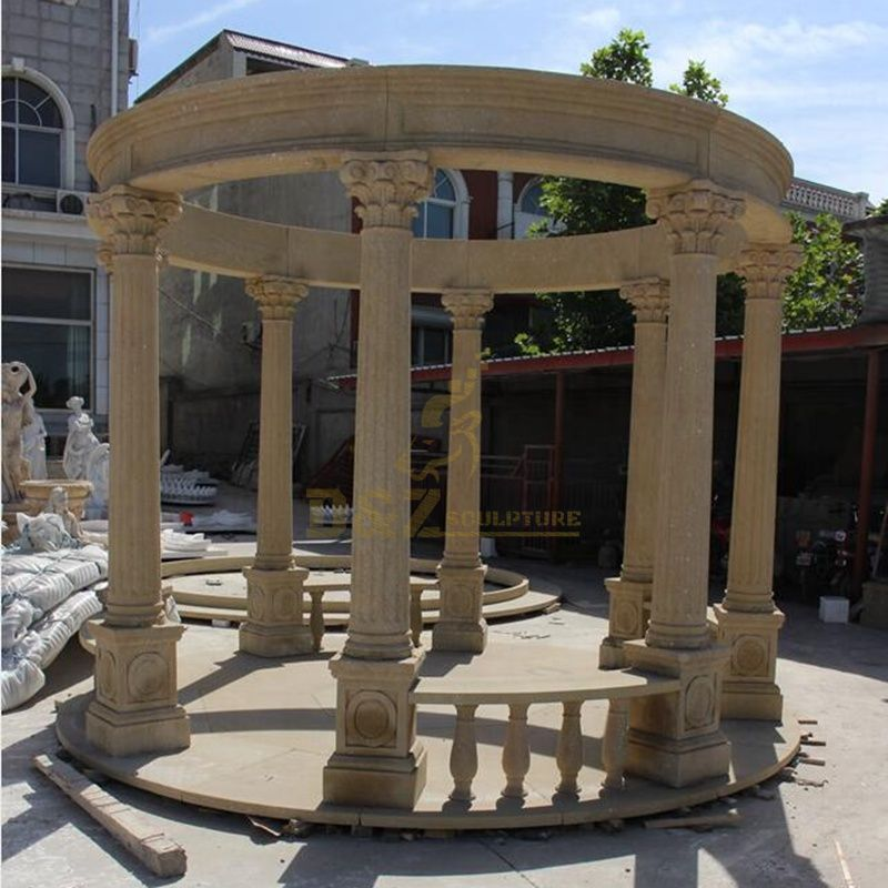 Customized Carving Different Style Outdoor Marble Gazebo Stone Pillar Gazebo