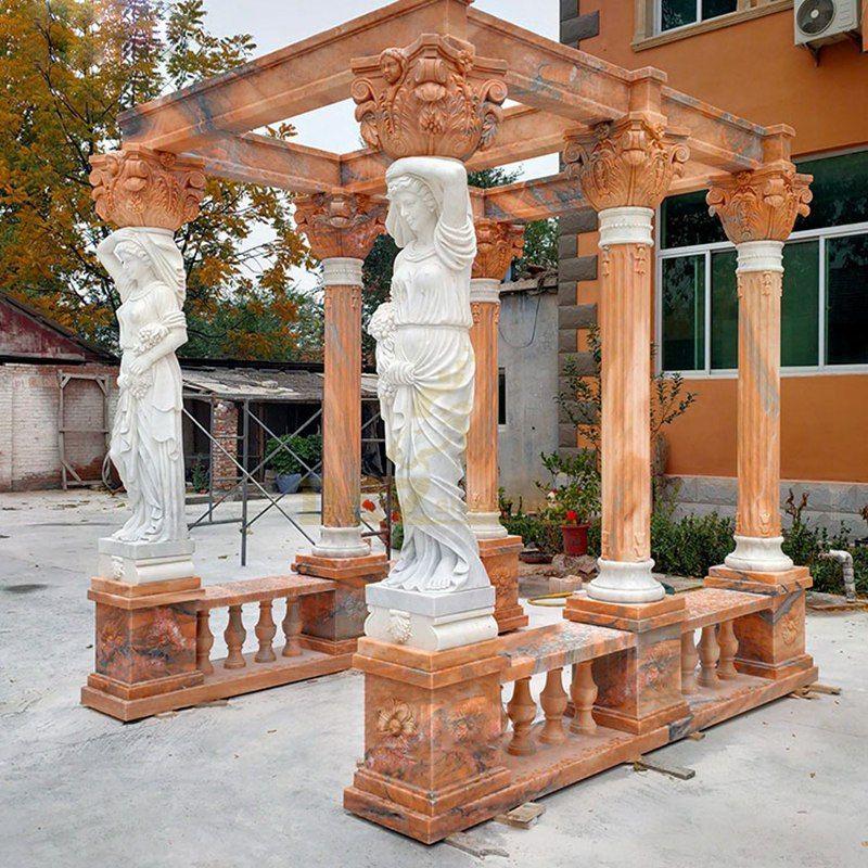 Garden Round Marble Stone Red Figure Sculpture Pavilion Gazebo