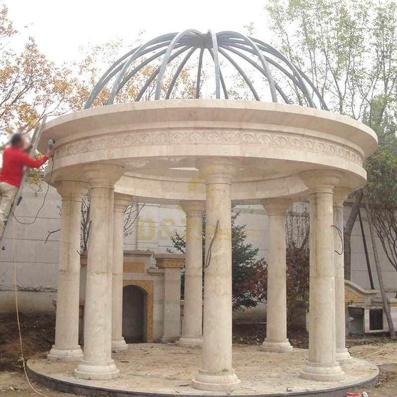 Stone Garden Gazebo Sculpture Yellow Marble Gazebo For Sale