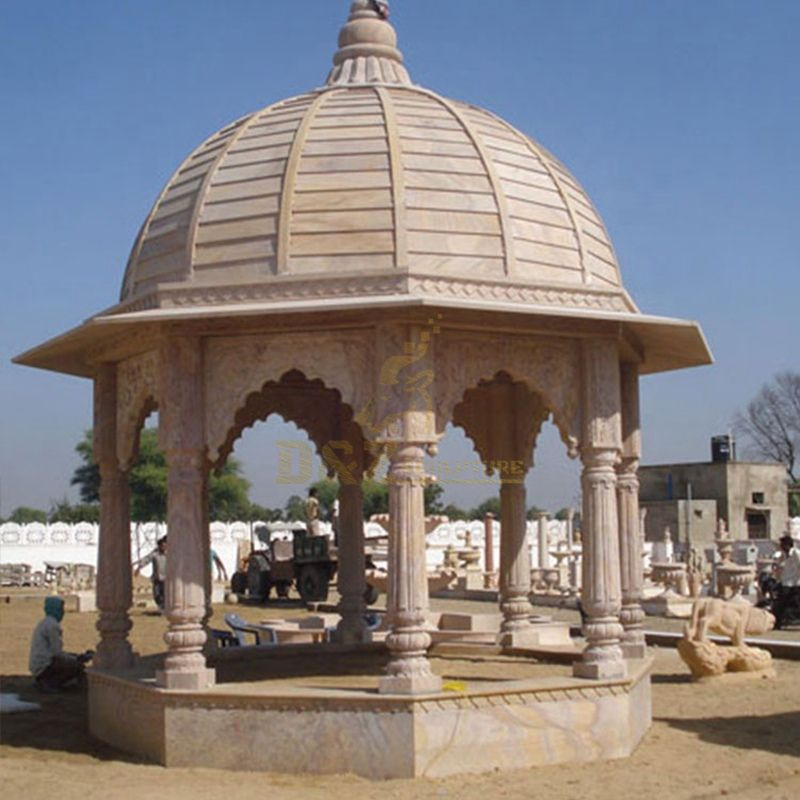 European Style Outdoor Solid Roof Marble Stone Pillar Gazebo