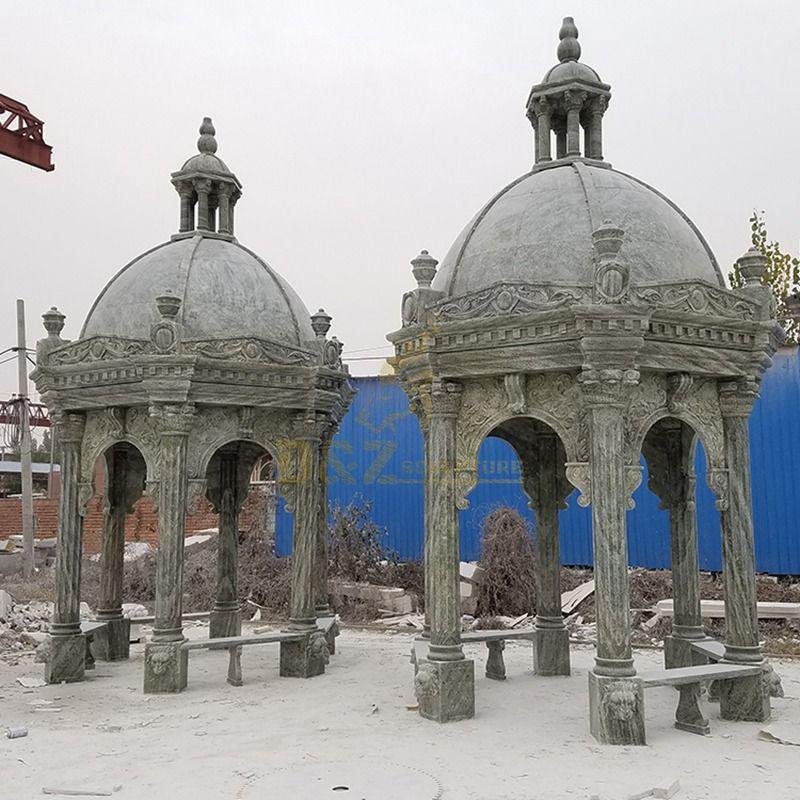 European Style Outdoor Solid Roof Marble Stone Pillar Gazebo