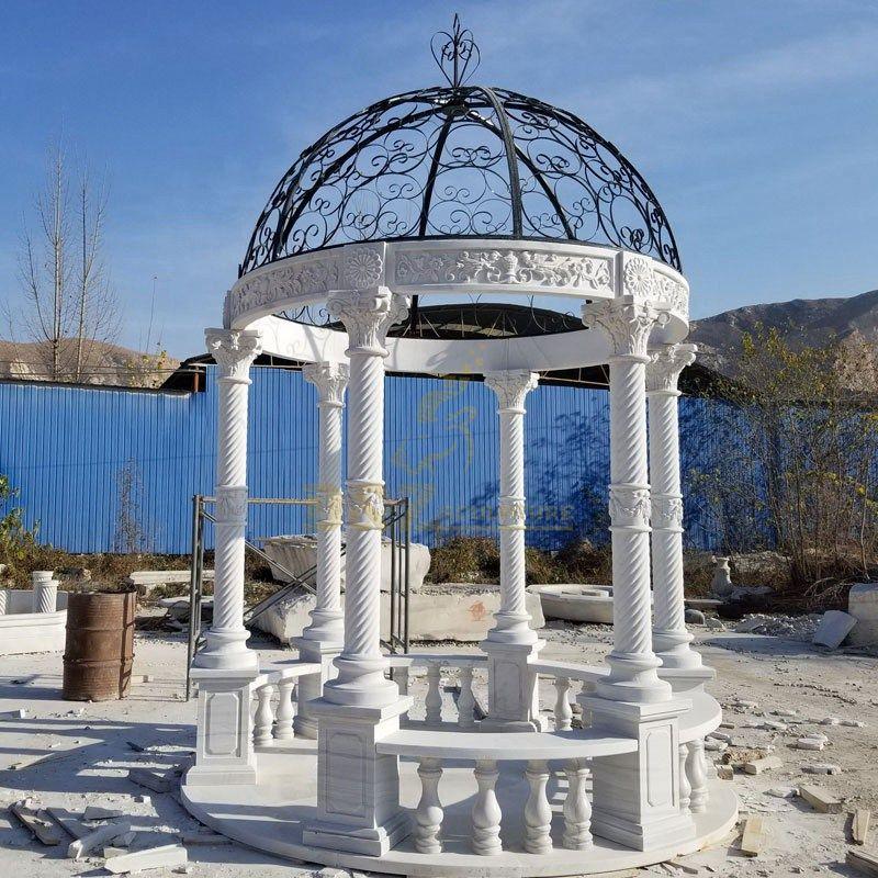 White Marble Garden Gazebo Pavilion Sculpture