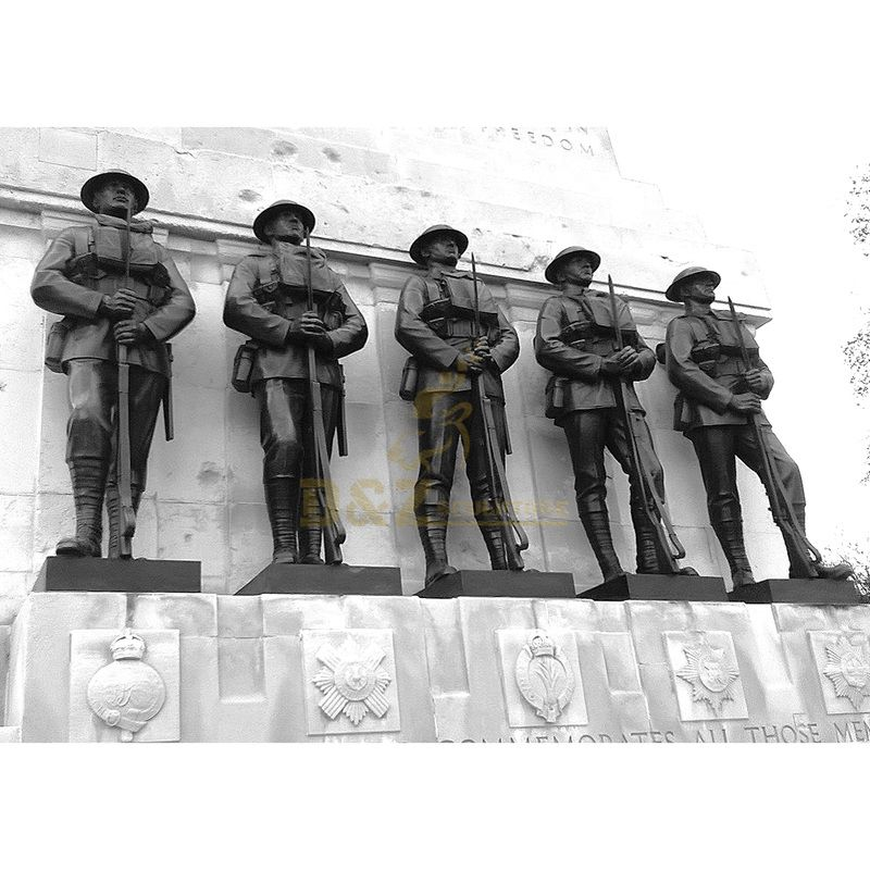 metal casting outdoor life size brass soldier figurine statues for sale