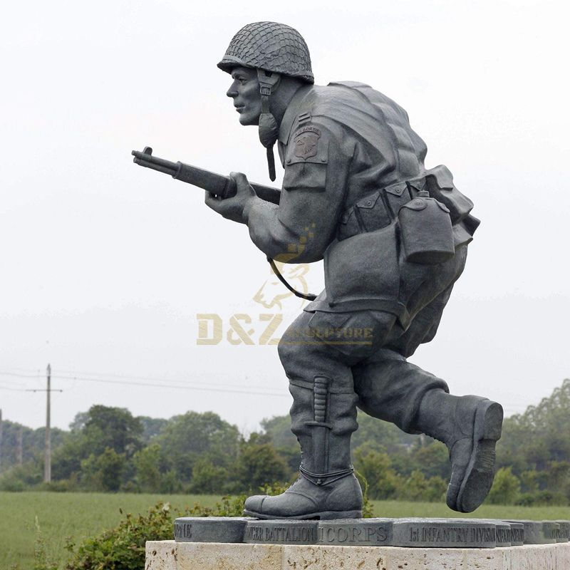 Outdoor square decoration Antique Bronze soldier statues brass sculpture