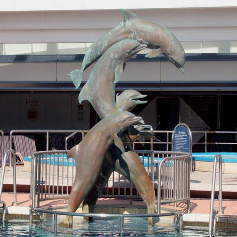 Garden bronze dolphin fountain sculpture for sale
