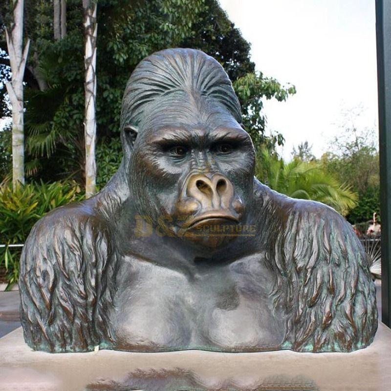 life size wildlife animal statue bronze orangutan head sculpture for sale
