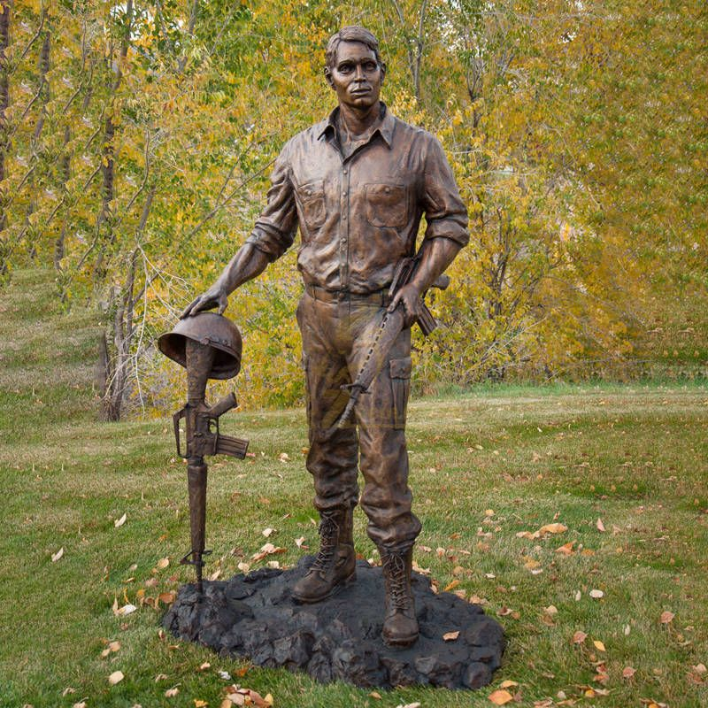 Custom outdoor life size man bronze soldier statues for sale