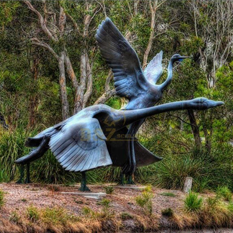 Outdoor bronze flying swan garden bird statue