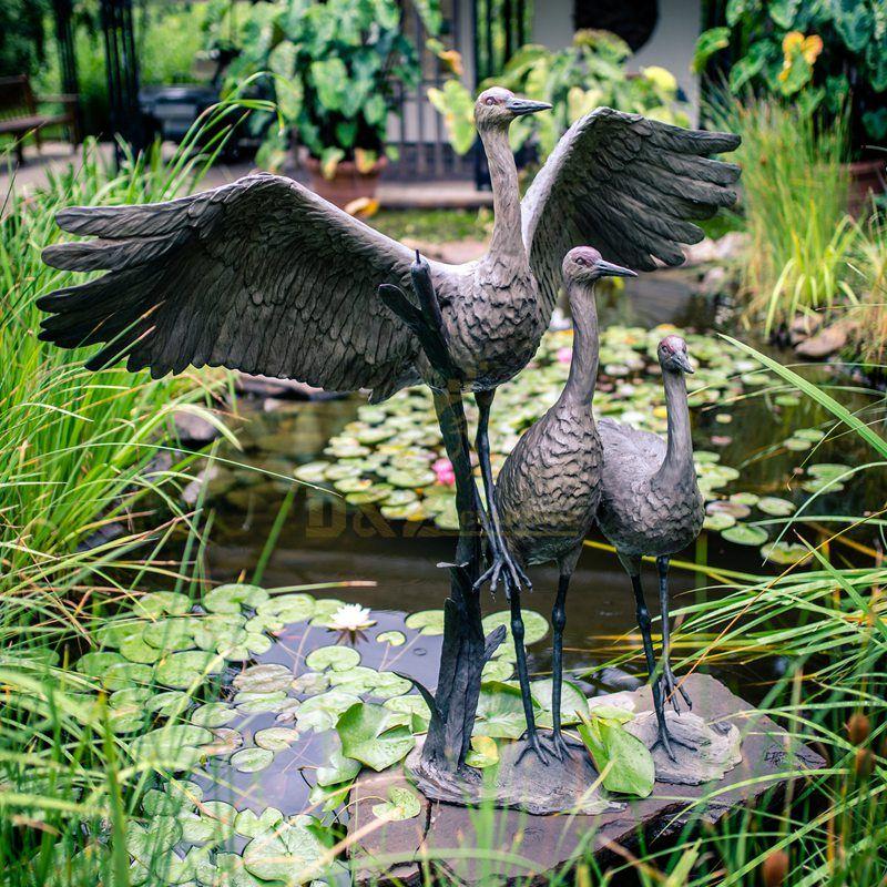 Metal animal art sculpture garden bronze crane statue