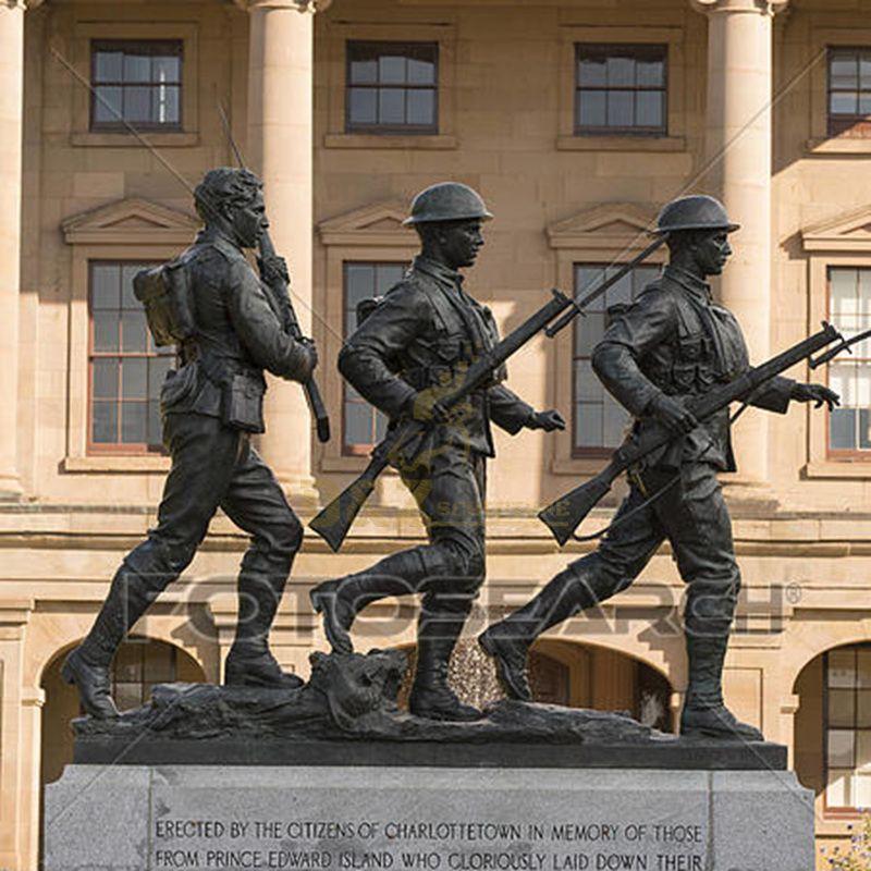 outdoor garden decoration Metal bronze life size soldier statue