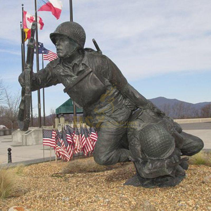 Life size bronze soldier statue for public