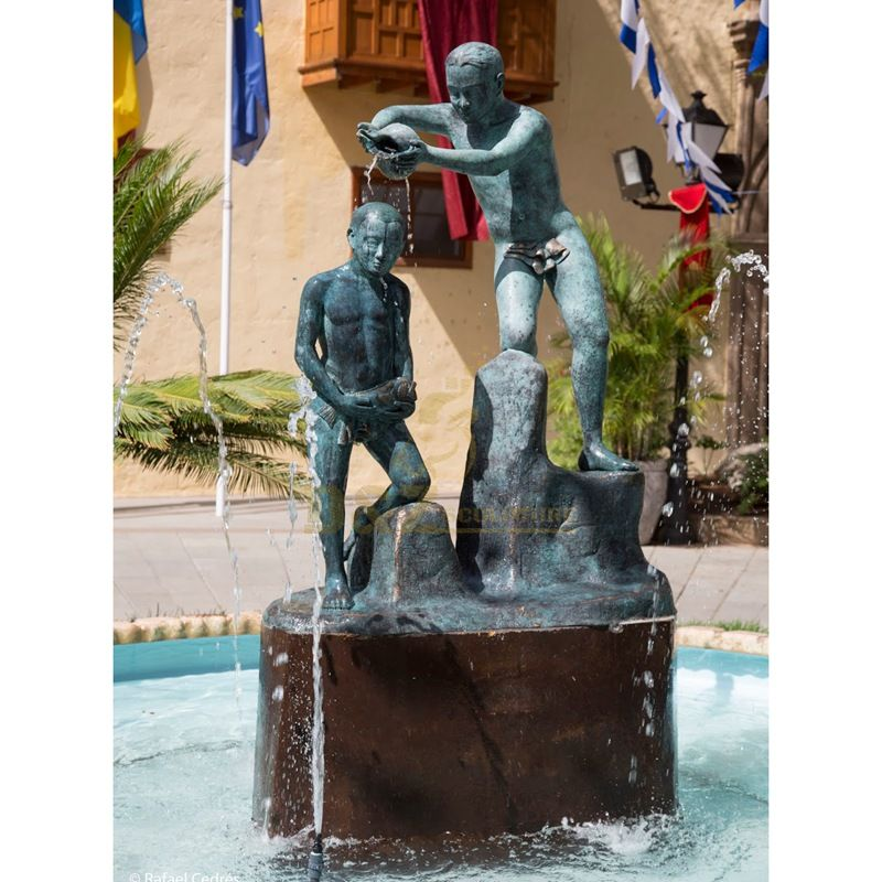Outdoor bronze large fountain sculpture with figure statues