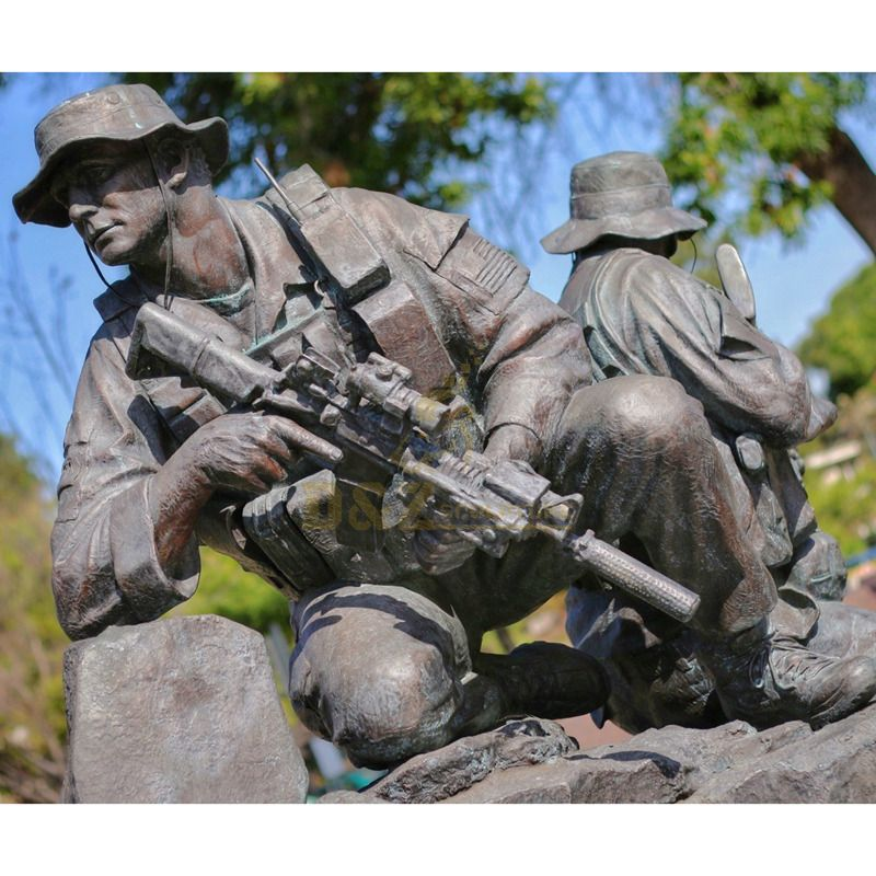 Custom Military Sculpture Life Size Bronze Marine Soldier Memorial Statue