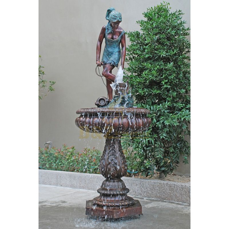 Bronze life size lady statue water fountain sculpture