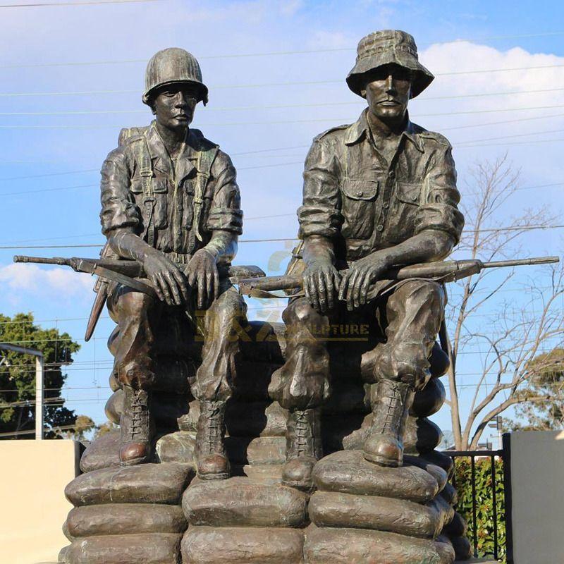 Outdoor garden decoration life size brass sculpture bronze soldier statue