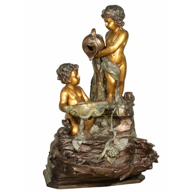 New design outdoor children bronze fountain garden art sculpture