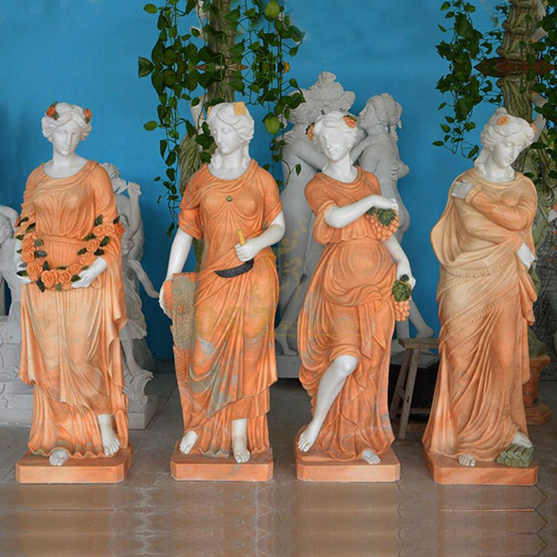 Ancient Greek Stone Carved Luxury Elegant White Marble Four Seasons Goddess Statue
