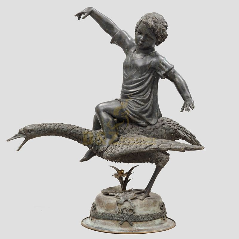 Outdoor child swan bronze water fountain sculpture