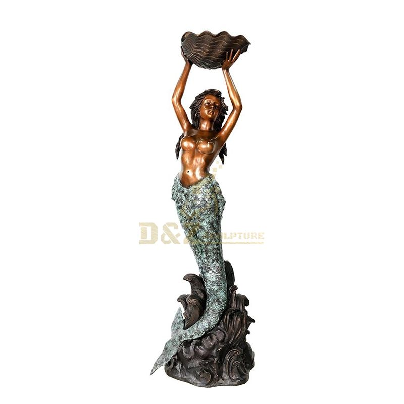 Life size vivid bronze mermaid sculpture
