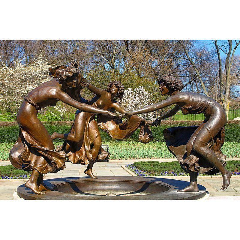 Metal water fountain bronze female sculpture for public decoration