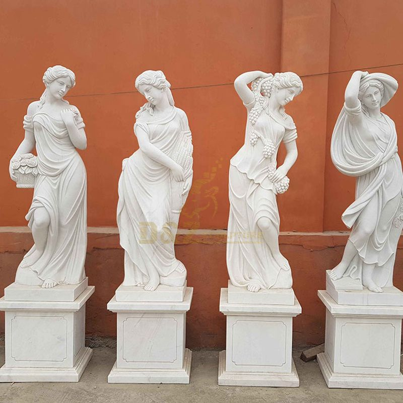 Life Size Natural White Marble Four Seasons Goddess Statues For Sale