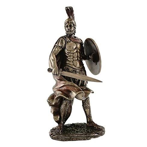 life size casting Sparta hero greek warrior statue with spear and shield