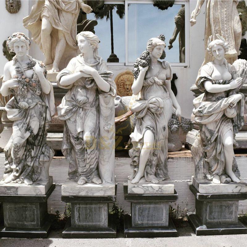 Outdoor Home Garden Decor Four Season Goddess Girl Woman Marble Statue