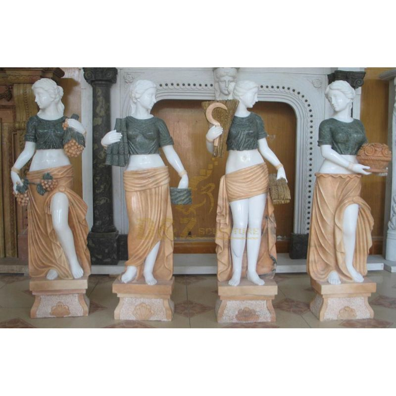 Yellow Stone Carving Four Season Greek Goddess Marble Statues
