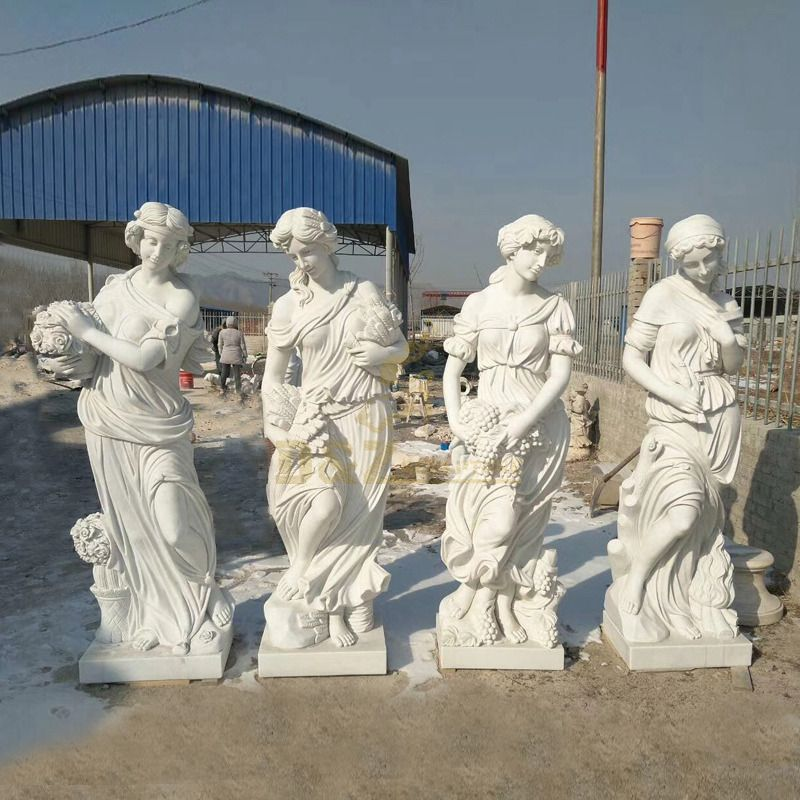 Antique Life-Size Four Seasons Goddess Marble Statues For Sale