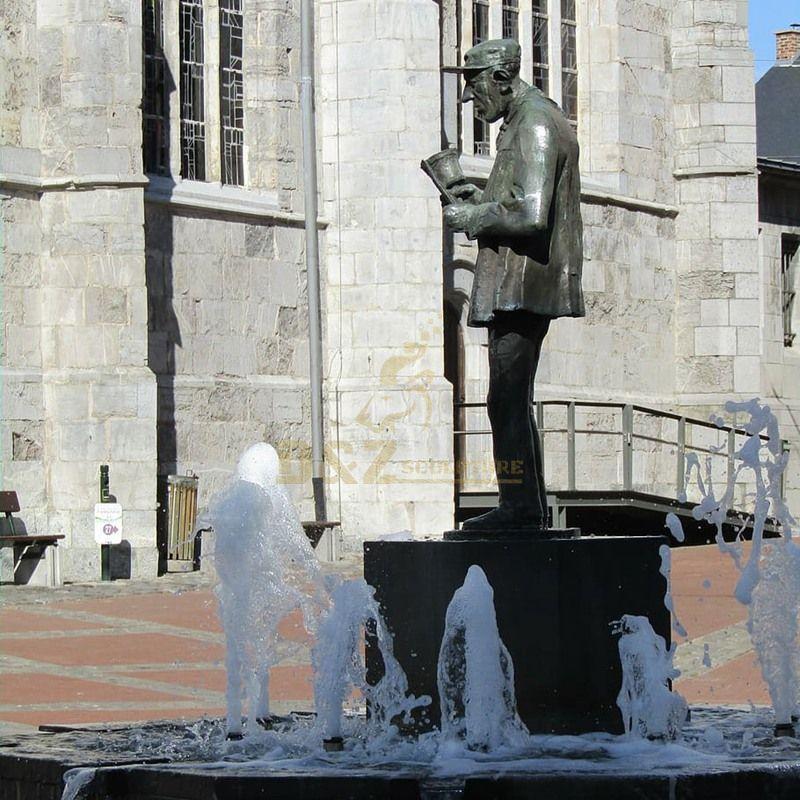 Modern Bronze Figurative Metal Water Fountains Sculpture