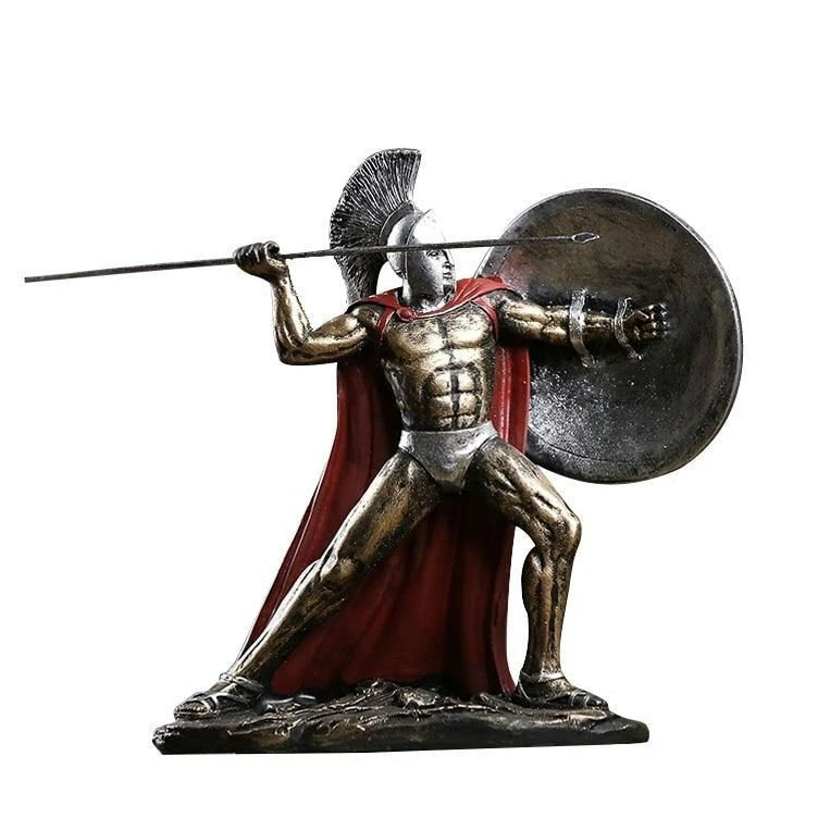 life size casting Sparta hero Leonidas greek warrior statue with spear and shield