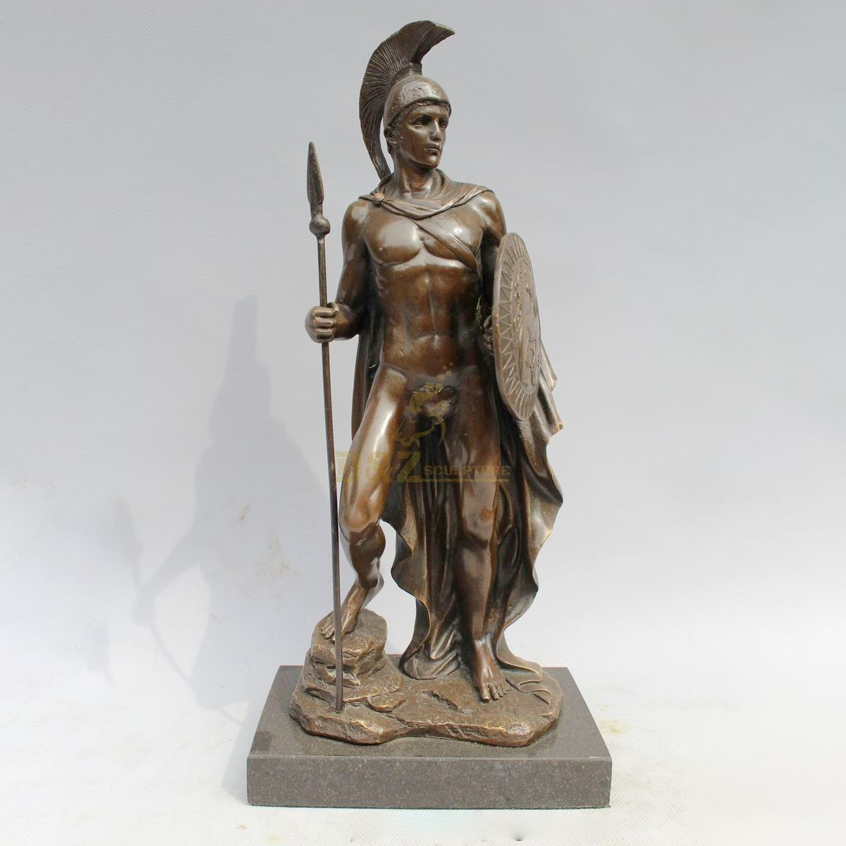 outdoor decor life size metal art casting sparta Warrior antique bronze roman soldiers statue with spear