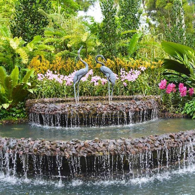 Outdoor Garden Decorative Metal Bronze Crane Statue Waterfall Sculpture
