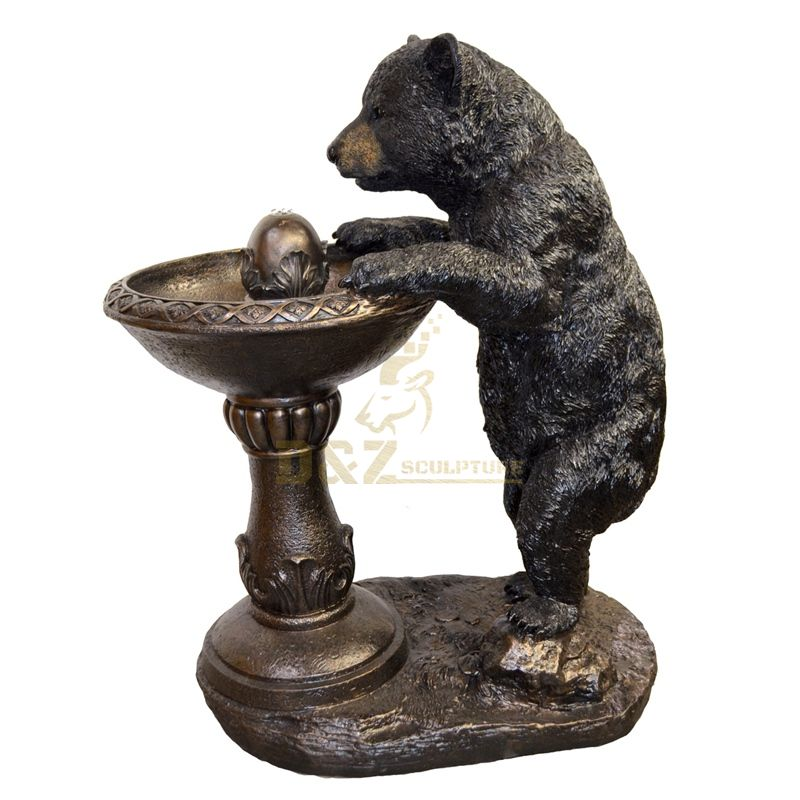 High Quality bronze standing bear fountain sculpture