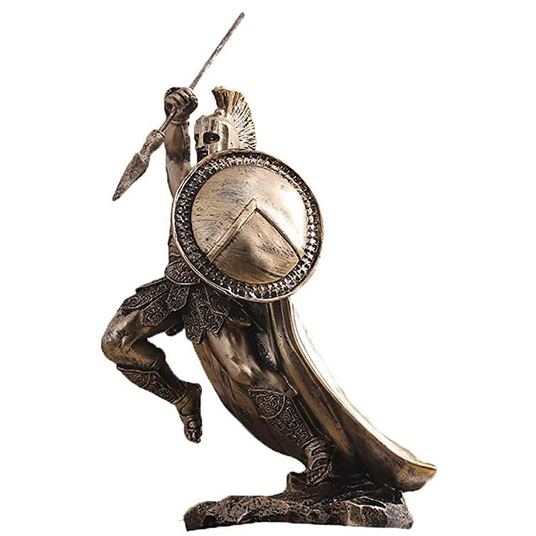 Large sparta bronze greek warrior leonidas god of war statue sculpture for decor