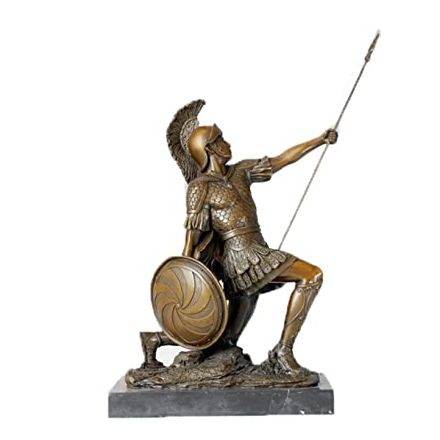 Antique Garden Metal Cast Imitation Bronze Warrior Statue of Sparta