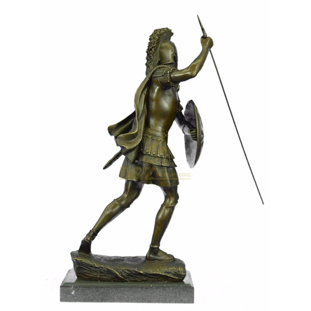 Ancient Greek life size warrior bronze Roman soldier statue for sale