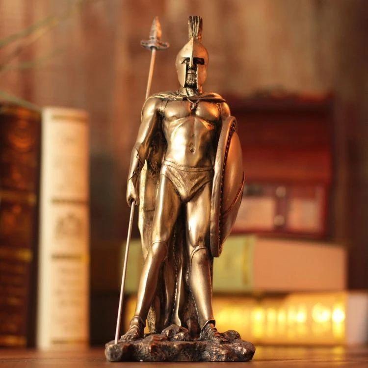 western classical bronze greek warrior statue sculpture for decoration