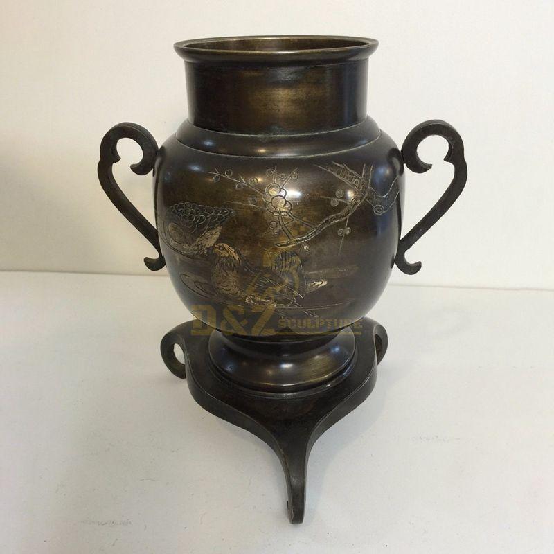 Custom garden decor cast metal flowerpot bronze brass sculpture