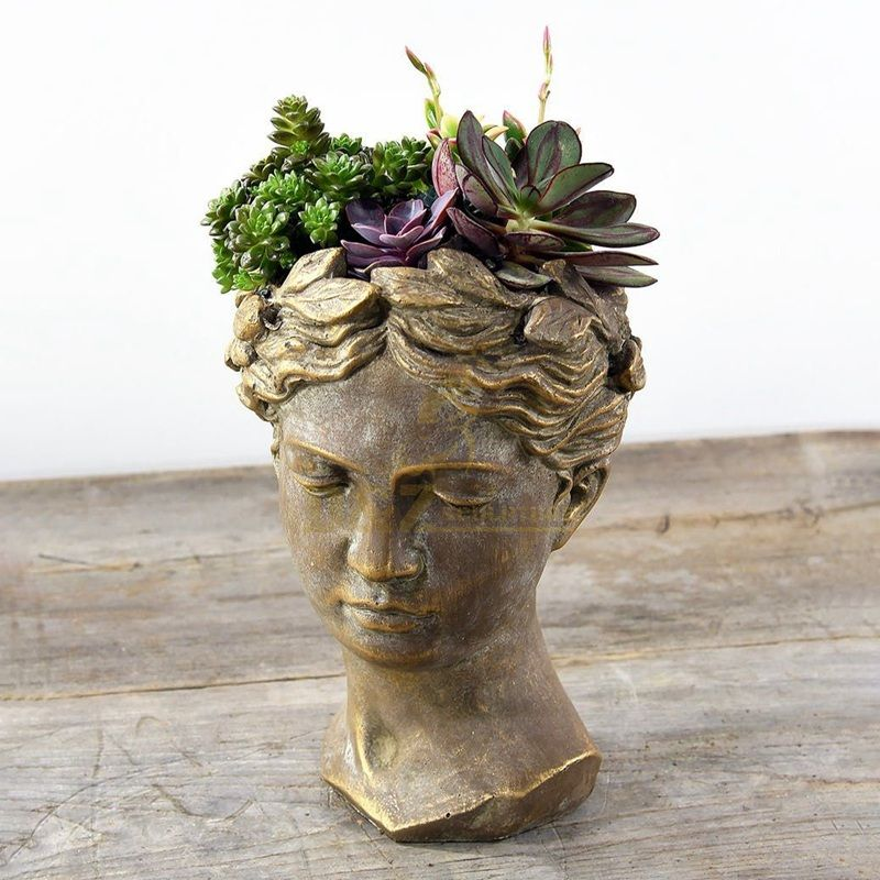 Bronze roman bust brass flowerpot sculpture for home decoration