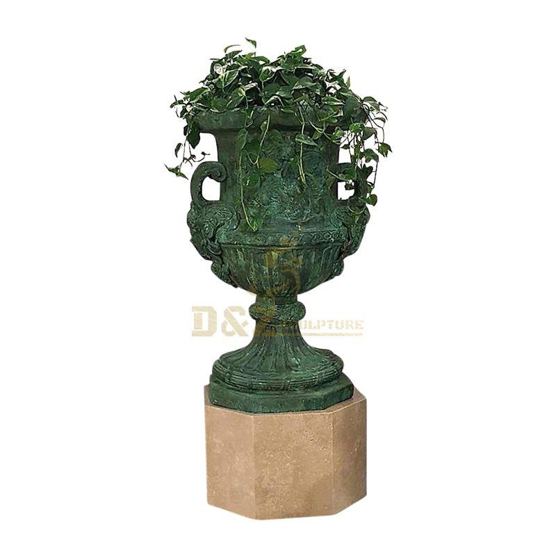 Western style plant flowerpot urns bronze sculpture