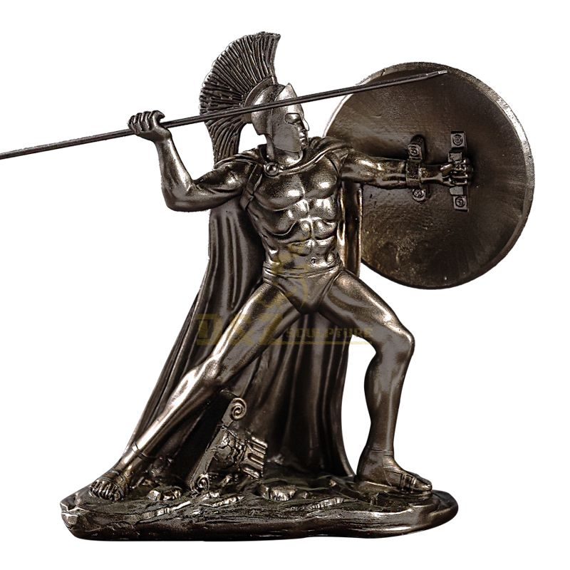 casting Sparta hero Leonidas greek warrior statue with spear and shield