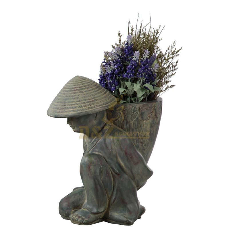 Outdoor metal brass bronze flowerpot statue