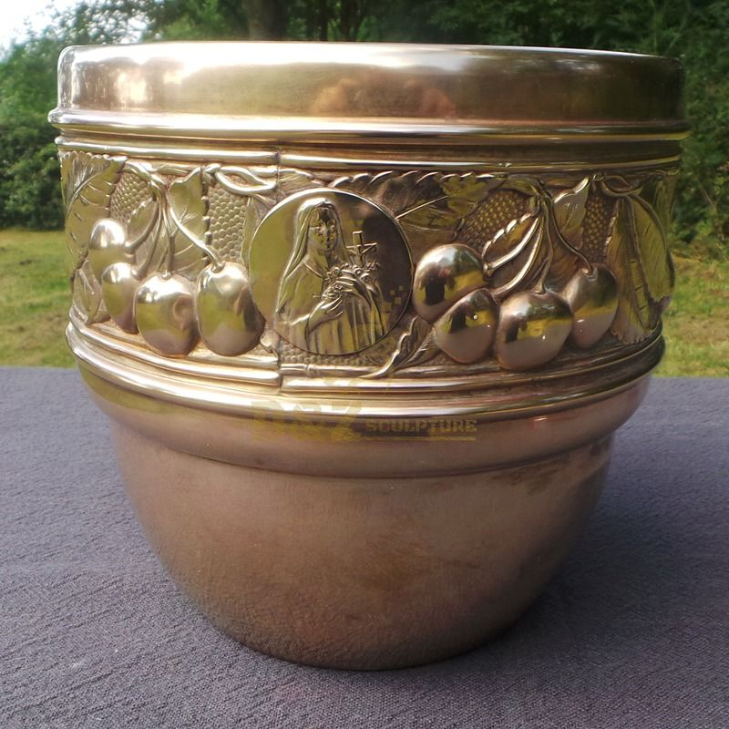 Home decoration bronze metal flower pot sculpture