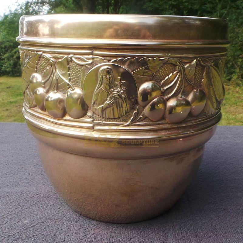 Home decoration bronze metal flower pot sculpture