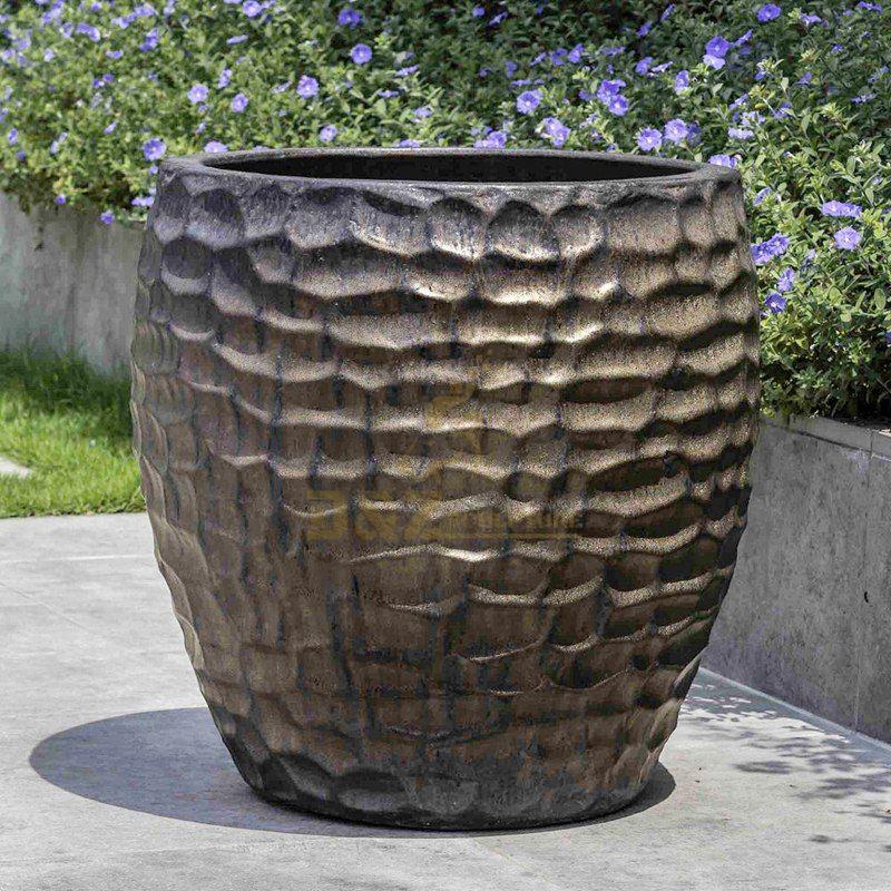 Simple design outdoor large bronze flower pot sculpture