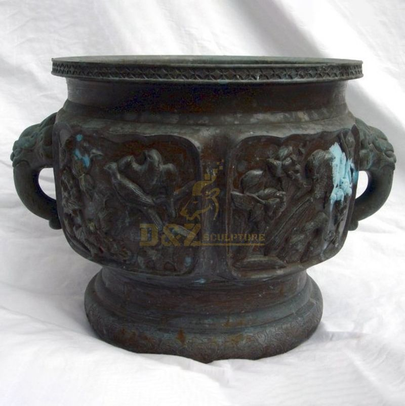 Large decorative bronze garden flower pots sculpture