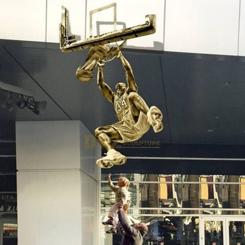 life size famous NBA star michael jordan bronze sculpture