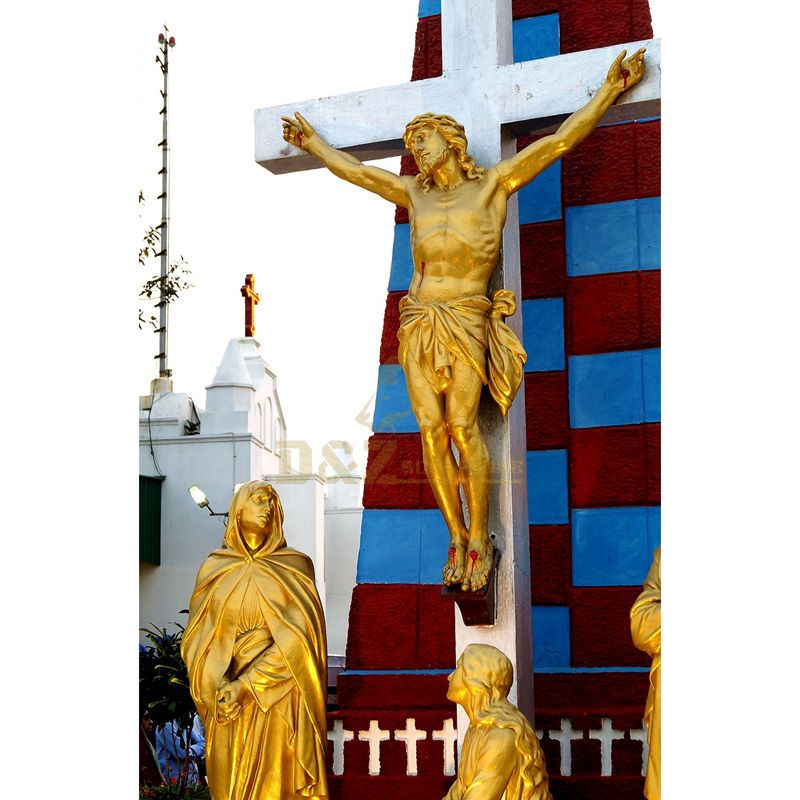 New Arrive Cross Jesus Religious Statue On Resin Jesus Crucifix Cross Figurine